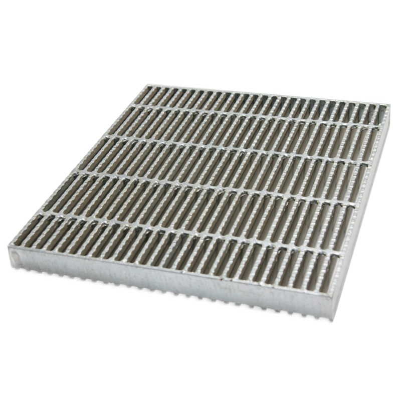 Plain serrated black steel grating