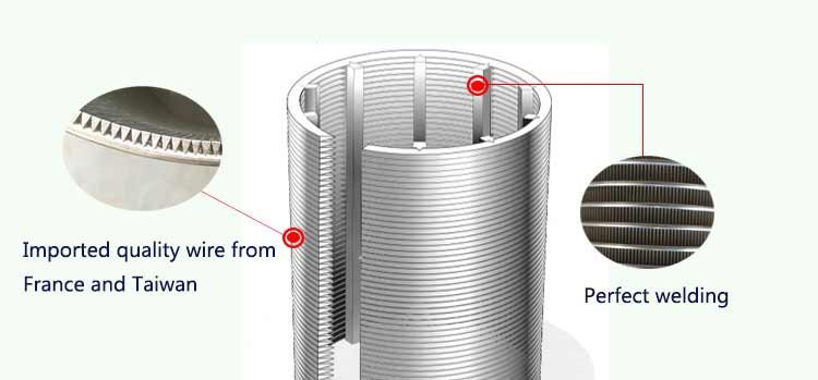 SS continuous slot wedge wire wrap screen tube